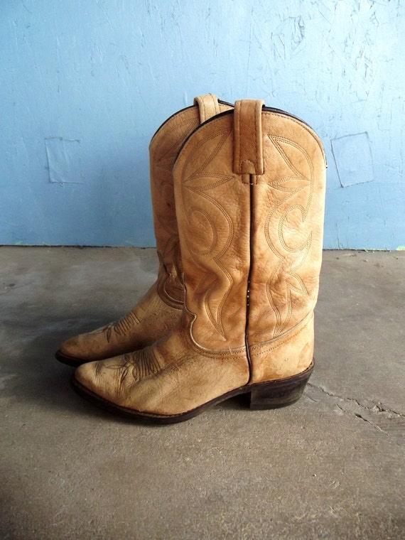 Vintage Cowboy Boots Camel Colored Boots Supple Leather Size 7