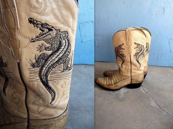 RESERVED Alligator Skin Cowboy Boots with An Alligator Embroiderd on the Shaft Size 9 Men's Women's 10 1/2