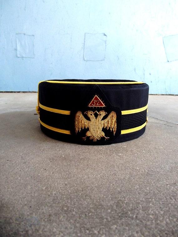 SALE Vintage 32 Degree Masons Hat Double Headed Eagle Collectible Cap