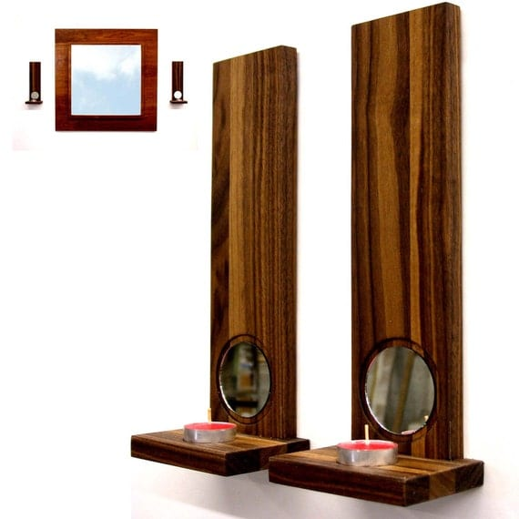 Candle Wall Sconces Contemporary : Modern wall sconces candle holders home decor Walnut duo