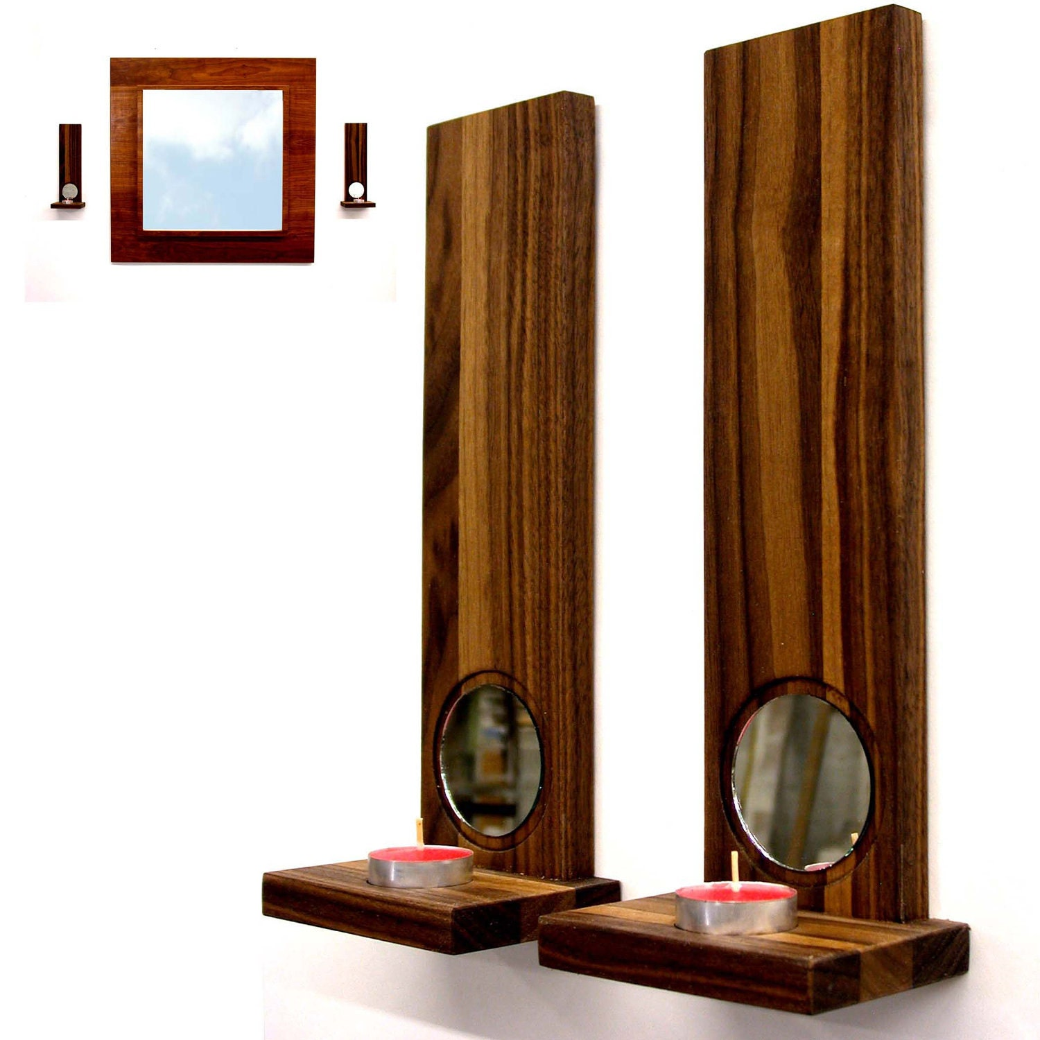 Modern Home Wall Sconces : Modern wall sconces candle holders home decor Walnut duo