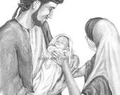 Christmas Print - Beautiful Sketch- Joseph, Mary and Christ child -option to add custom text-
