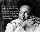 5X7 Drawing Print w/ custom quote Martin Luther King Jr.