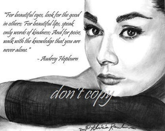 11x14 Audrey Hepburn Drawing - Customize- Add Your Favorite Quote of Hers to the Print