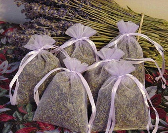6 FRAGRANT Dried Lavender Filled Sachets..FREE SHIP. Lavender Flower Sachets