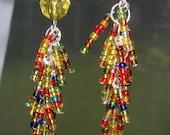 Sale 40% OFF Handmade Earrings Chandelier Beaded Dangle Hook Long Earrings LAST PAIR