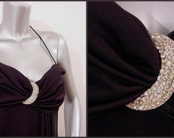 Rhinestone Moon Karen Okada Climax Party Dress 70s Vintage 32b