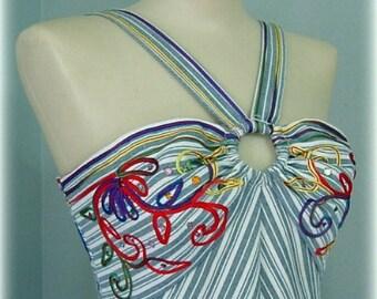 Confetti and Denim Maxi Halter Dress 70s Vintage 32 bust