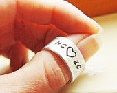 Personalized Silver Ring - Custom Hand Stamped Thick Aluminum Adjustable Band Ring - Gift for Him or Her - Valentines Day Gift