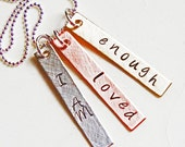 Personalized Affirmation Necklace - Hand Stamped Motivational Inspirational Jewelry - Sterling Silver Brass Copper Custom Necklace