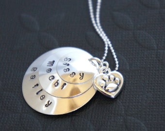 Personalized Pet Memorial Hand Stamped Necklace-Custom Name Pet-Celebrate Your Pet-Sterling Silver-Paw Print Charm Necklace