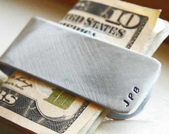 Custom Monogram Money Clip - Personalized Hand Stamped Aluminum Gift for Him - Groom Groomsman Best Man Fathers Day Gift