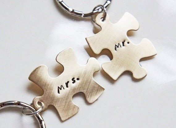 His and Hers Personalized Key Chains Hand Stamped Mr. and Mrs. Gold Brass Puzzle Keychain Set Wedding Anniversary Shower Gift Valentines Day