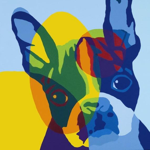 Boston Terrier Art - Blue