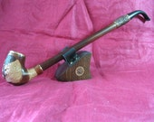 GORGEOUS Extra Long CHURCHWARDEN Handcrafted Briar Tobacco Pipe - LION