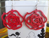 Wooden Rose Earrings