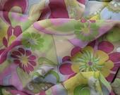Silk chiffon fabric in funky flowery print - 192cm