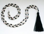 Tassel and  Pearls Necklace. Cartouche Tassel  Jewelry Collection.
