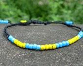 Lemon and Turquoise  Braided  Macrame Friendship Bracelet