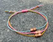 Copper cubes Neon  Friendship Bracelet. Trio bracelet.