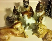 Set of 6 ceramic dogs made in Brazil (REDUCED SHIPPING)
