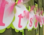 Baby Shower Banner It's A Girl Pink and Green