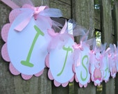 Baby Shower Banner - Owl Theme - Light Pink and Green