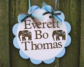 Door Sign - Brown and Blue Elephants - Baby Shower
