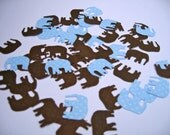 Confetti - Elephants - Light Blue and Chocolate Brown