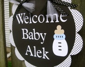 Baby Shower Door Sign - Welcome Baby - Black and White
