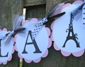 Lingerie Shower Banner - Bridal Shower - French Eiffel Tower - Pink and Black - Ooh-la-la