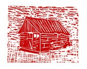 Red house woodcut print on ricepaper