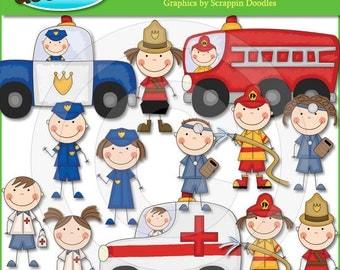 Firemen, Police Men & Paramedic Stick Kids Clip Art