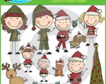 Christmas Stick Family Clip Art