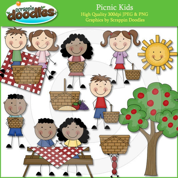 Picnic Kids Clip Art by ScrappinDoodles on Etsy