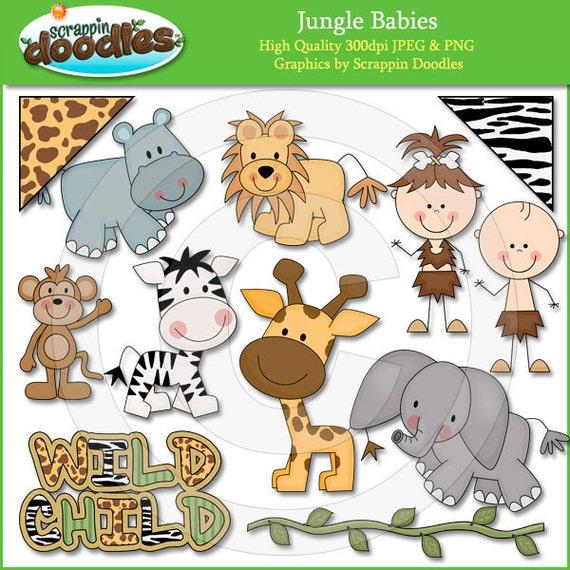 Jungle Babies Clip Art
