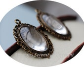 6pcs Oval Antique Brass Cabochon Base Setting sets with glass cameos Vintage Filigree Pendant 25x18mm Code: B201
