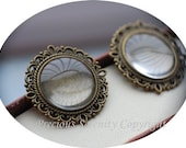 6pcs Antique Brass Vintage Matching  Cabochon Base Setting sets with glass cameos Round Filigree Pendant 20mm Code: B206