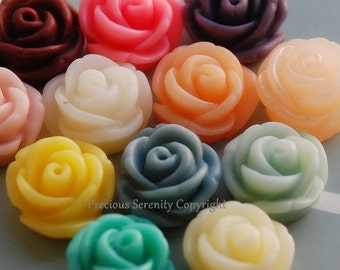12 pcs 11mm Fabulous Cameo Resin flowers Gardenia in 12 Colors Suitable for Cabochon Pendant Charm Craft Jewellery CODE RS83