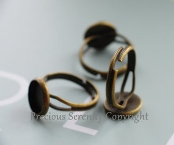 12mm 10pcs Antique Bronze Ring base settings Vintage style B211