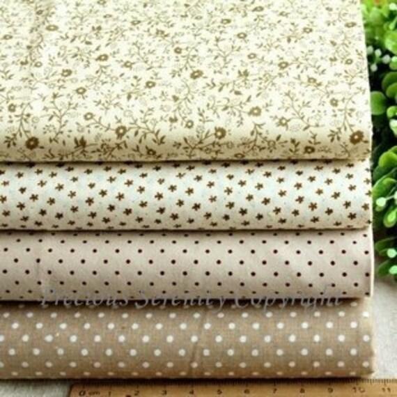 Bargain Cotton Creamy Grey floral and dots patter Fabric square fat quarter bundles / sets 4 pieces n 100% cotton FBC72