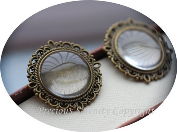 10pcs Antique Brass Vintage Matching  Cabochon Base Setting sets with glass cameos Round Filigree Pendant 20mm Code: B206