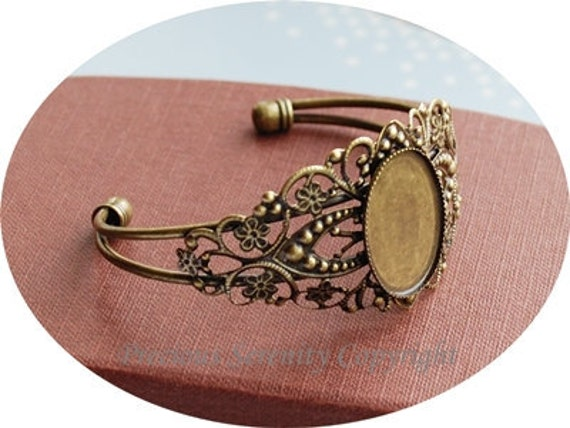 2pcs Antique Bronze Adjustable Bangle Base Settings resin flower not included Vintage style B333