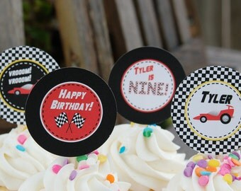 Race Car Cupcake Toppers/Tags