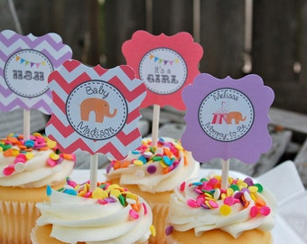 Circus Baby Girl Shower Cupcake Toppers/Tags