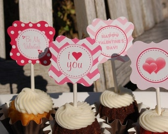 Valentine's Day Cupcake Toppers/Tags-printable