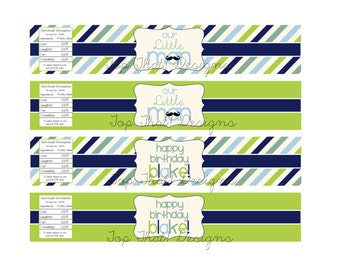 Little Man Water Bottle Labels- Printable