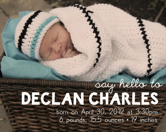 Photo Baby/Birth Announcement- Printable
