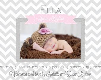 Photo Baby/Birth Announcement- Printable