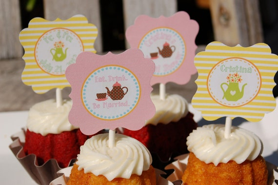 Bridal Shower Cupcake Toppers/Tags- Tea Party